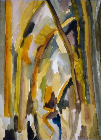 Aloys Perregaux - Etang, aquarelle. 1975. 30 x 22 cm