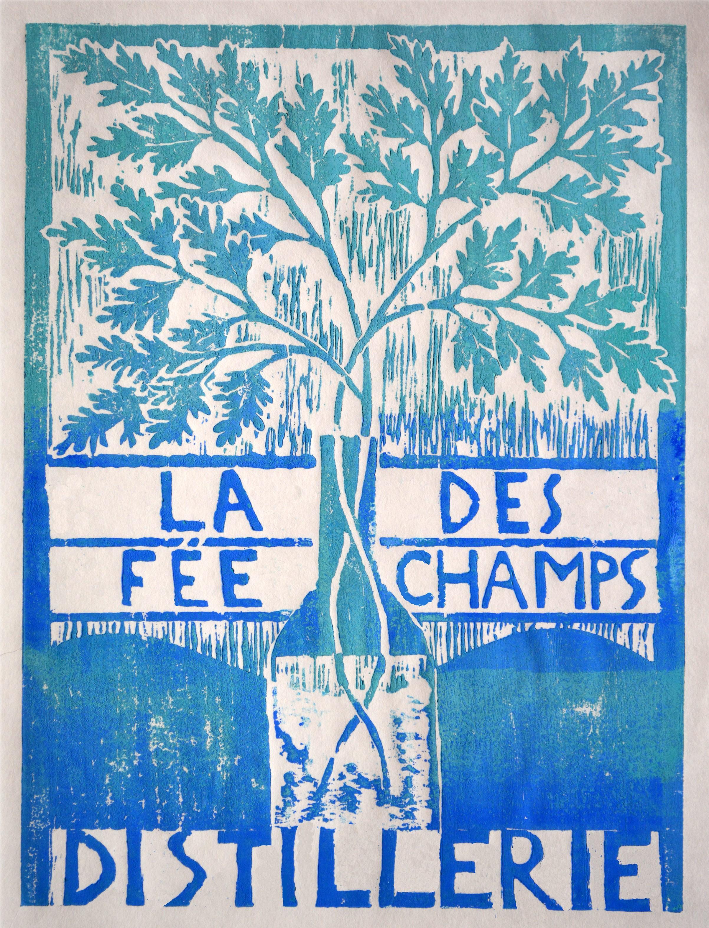 Cléa Liniger - La fée des champs, xylogravure. 2018. 21 x 30 cm